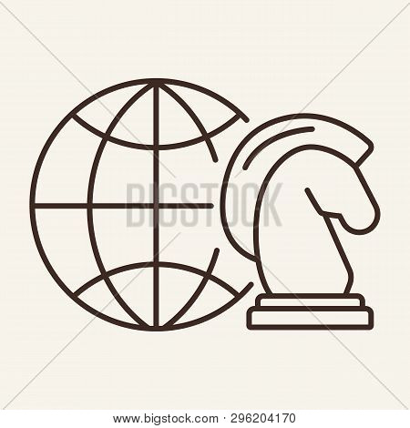Global Strategy Line Icon. Politics, World Chess Match, Diplomacy. Global Concept. Vector Illustrati