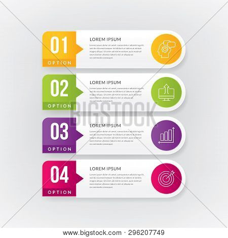 Info-graphics Design Element, Work-flow, Layout, Diagram, Annual Report. Info-graphic With 4 Options