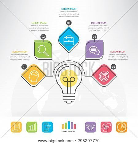 Business Info-graphic For Graphs, Charts, Diagrams. Vector Idea Light Bulb Circle Info-graphic Templ