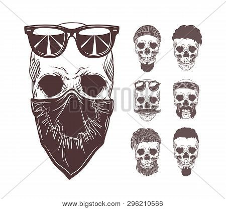 Vector Illustration Of Skull In Bandanna And Sunglasses On Face With Set Monochrome Skulls Isolated