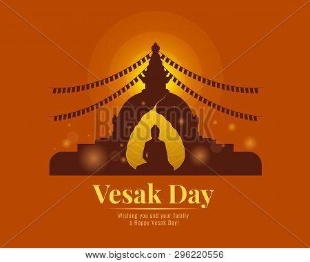 Happy Vesak Day Banner With  Gold Bodhi Leaf Buddha And Pagoda Vector Design
