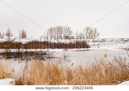 Spring Landscape, Snow Melts, Beautiful River. Russia, Ural, March
