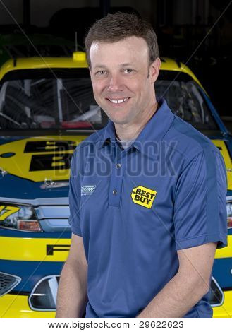 Concord, NC - January 09:  NASCAR Champion, Matt Kenseth (17), and his Best Buy Ford Fusion at Roush Fenway Racing in Concord, NC on January 09, 2012.