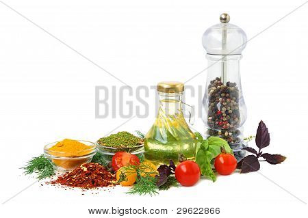 Cooking oil pepper shaker tomato and herb leaves on white background poster