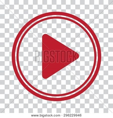 Play Sign. Round Red Icon On Transparent Background. Vector Illustration