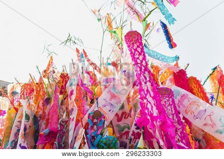 Colorful Songkran Flags Of Northern Thailand.lanna Style Flags.chiangmai, Thailand .