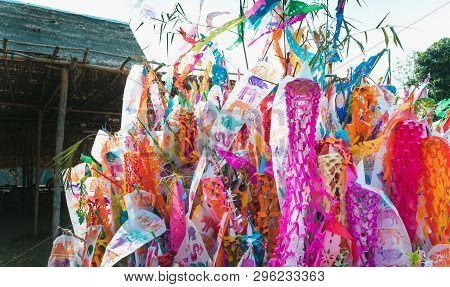 Colorful Songkran Northern Thailand Flags.colorful Tung Lanna Style Flags, Chiangmai, Thailand . Dur