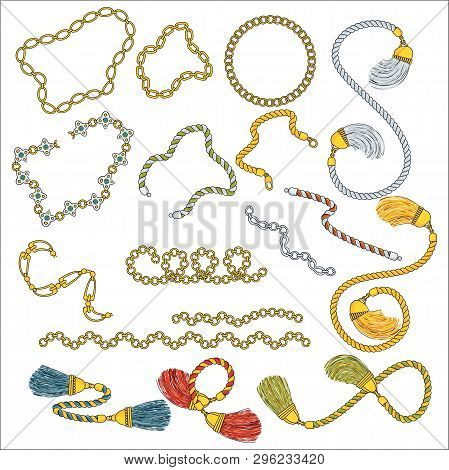 Set Of Trendy Pendants And Chains. Outline Flat Vector On White Background.