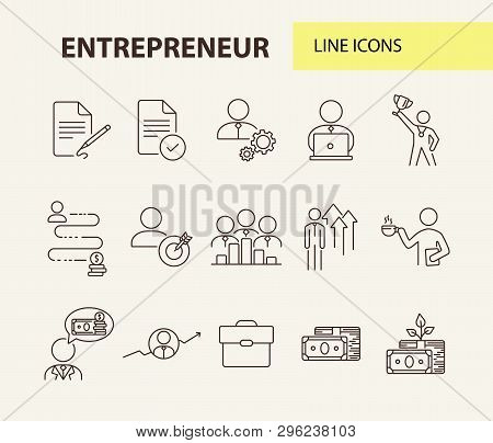 Entrepreneur Line Icon Set. Businessman, Investor, Manager. Business Concept. Can Be Used For Topics