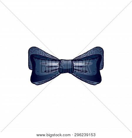 Bow Tie Hand Drawn Sketch, Black Outline Ink Art. Elegant Gentleman Neck Accessory, Dress Code Tiebo