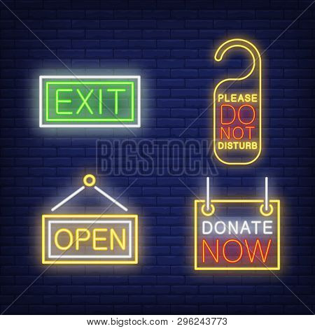 Hotel Tablets Neon Sign Set. Exit, Open, Do Not Disturb Tag, Donate Now. Colorful Billboard, Bright