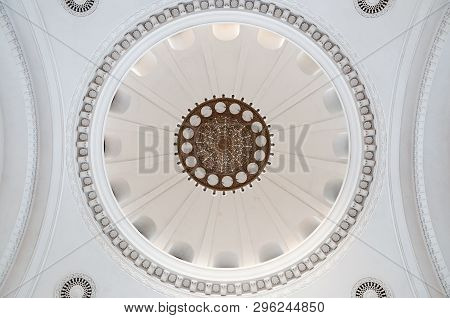 Beautiful Stucco Ceiling In Old Building.antique And Baroque Ceiling.beautiful Old Chandelier On The