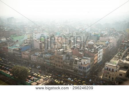Top View Of The City Street Of Old New Delhi. View Of Old Delhi From Jama Masjid Minaret. 8 January