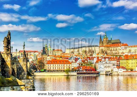 View Of Charles Bridge, Prague Castle And Vltava River In Prague, Czech Republic.nice Sunny Summer D