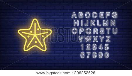 Starfish Neon Sign. Yellow Sea Star. Night Bright Advertisement. Vector Illustration In Neon Style F