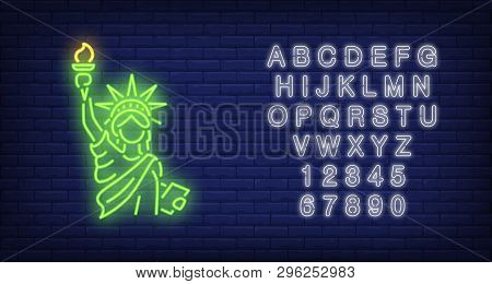 Statue Of Liberty On Brick Background. Neon Style Illustration. New York, Manhattan, Independence Da