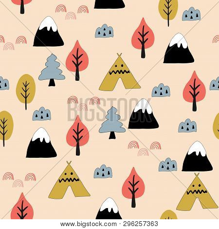 Seamless Woodland Pattern. Creative Design For Wrapping, Textile, Wallpaper. Flat Vector Illustratio