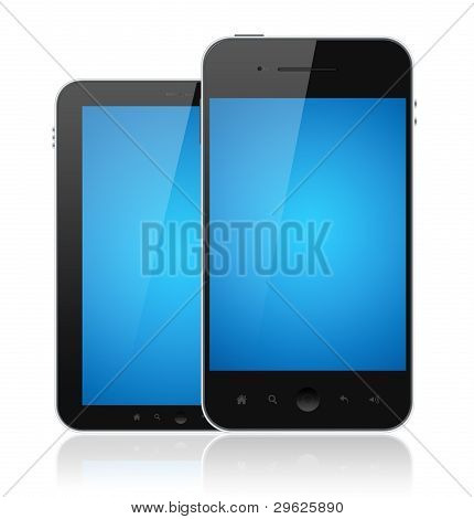 Modern Mobile Phones With Blue Screen Isolated