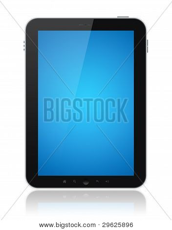 Digital tablet PC with blue screen isolated on white. Include clipping path for tablet and screen. poster