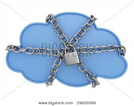 3D Illustration of a Cloud Secured with a Lock