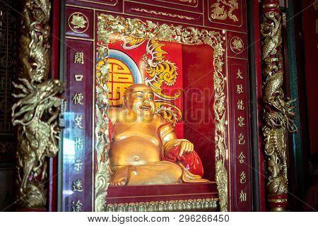 Yaowarat Bangkok, Thailand - 27 January 2019: Old Laughing Buddha Or Happpy Buddha In Temple At Wat
