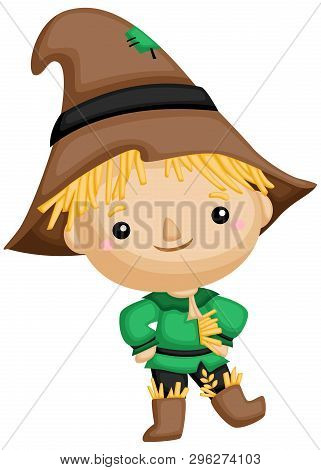 A Vector Of A Cute Scarecrow Standing Up