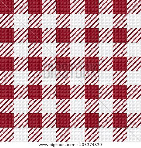 Vector Seamless Texture With Vichy Cage Ornament. Red And White Cages