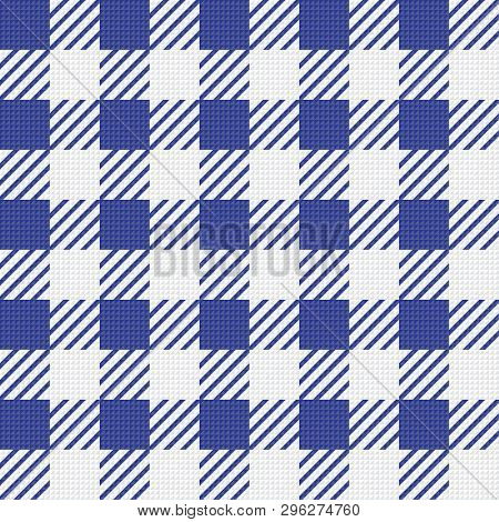 Vector Seamless Texture With Vichy Cage Ornament. White And Blue Cages