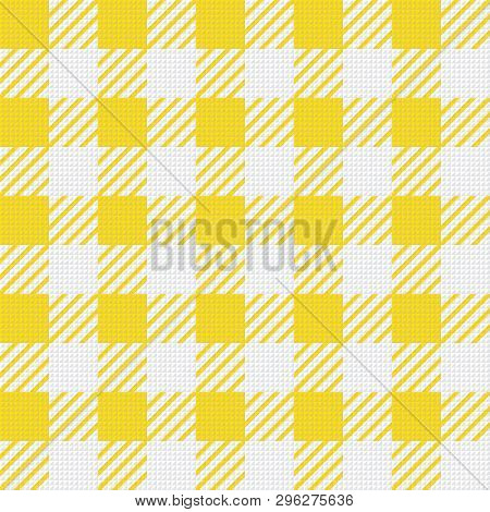 Vector Seamless Texture With Vichy Cage Ornament. Yellow And White Cages