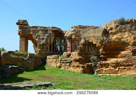 Stone Necropolis At Valley Of Temples Agrigento Sicily