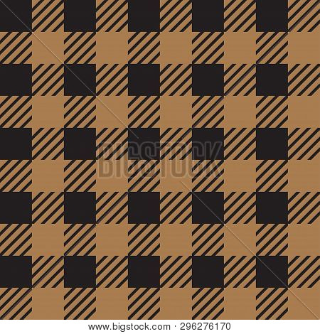 Vector Seamless Texture With Vichy Cage Ornament. Brown And Black Cages
