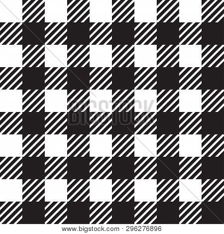 Vector Seamless Texture With Vichy Cage Ornament. White And Black Cages