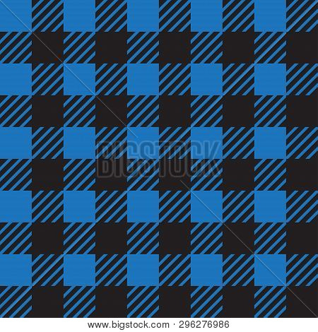 Vector Seamless Texture With Vichy Cage Ornament. Blue And Black Cages