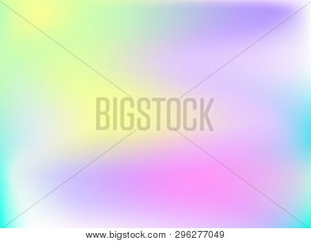 Vector Holography Background, Shining Rainbow Colored Backdrop, Wallpaper Template.