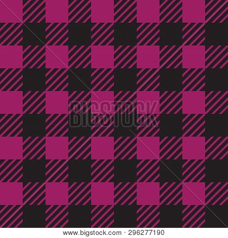 Vector Seamless Texture With Vichy Cage Ornament. Black And Purple Cages