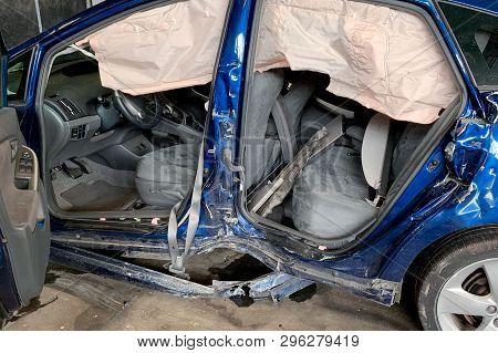 Image Of Blue Broken Car Close-up, Side View