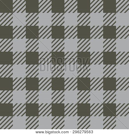 Vector Seamless Texture With Vichy Cage Ornament. Grey And Khaki Cages