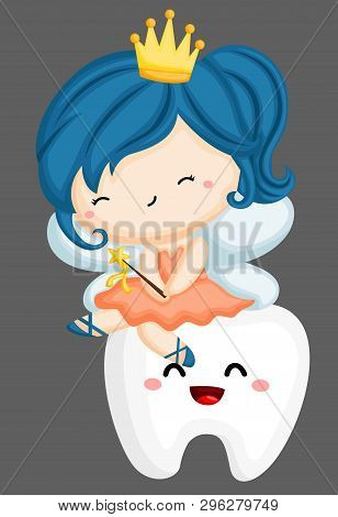A Vector Of A Tooth Fairy Sitting On A Tooth