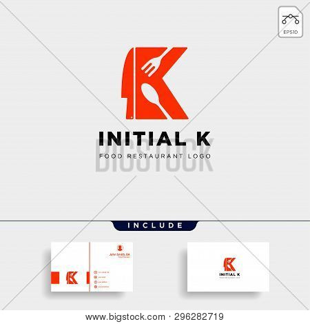 Initial K Food Equipment Simple Logo Template Vector Icon Abstract