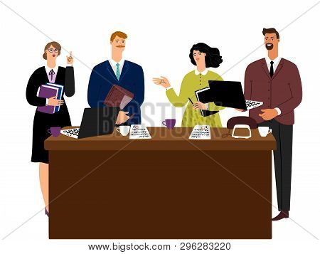 Business Meeting Man And Woman Negotiations Vector Concept. Business Partnership And Teamwork, Offic
