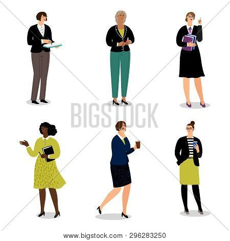Businesswomen With Phones And Papers. Vector Office Women Walk And Communicate - Vector Illustration