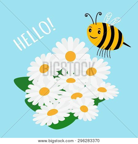 Cute Cartoon Bumblebee And Flowers Field Vector Illustration. Cartoon Bumblebee And Flowers