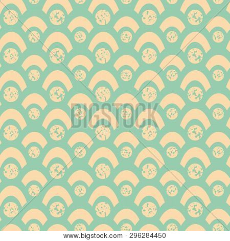Soft Yellow Spots And Fishscales With Textured Chalk Effect. Bright Seamless Geometric Vector Patter