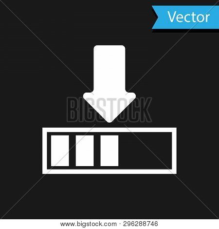White Loading Icon Isolated On Black Background. Download In Progress. Progress Bar Icon. Vector Ill