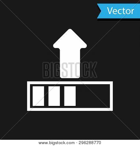 White Loading Icon Isolated On Black Background. Upload In Progress. Progress Bar Icon. Vector Illus