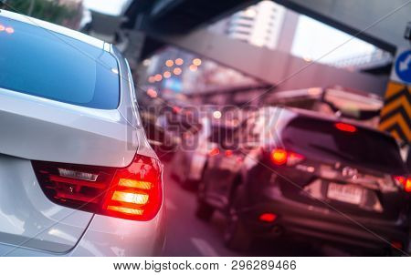 Car Brake Light And Traffic Concept - Led Car Brake Light On Traffic Jam Hour In Bangkok, Thailand W