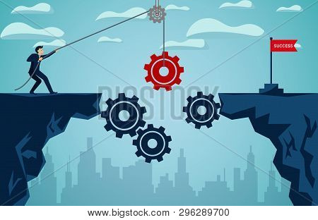 Business Finance Success Concept.  Businessman Who Pull The Red Gear With Rope To Be A Bridge Leads