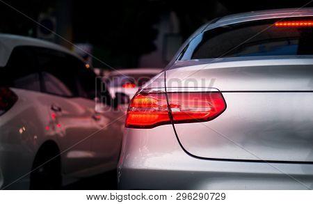 Car Brake Light And Traffic Concept - Led Car Brake Light On Traffic Jam Hour In Bangkok, Thailand W