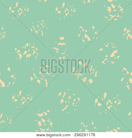 Variety Of Soft Yellow Paint Spatters In Random Layout. Sunny Seamless Vector Pattern On Light Turqu