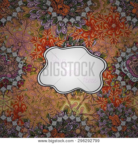 Fashionable Fabric Pattern. Doodles Beige, Black And White On Colors. Vector. Design Wrapping And Gi